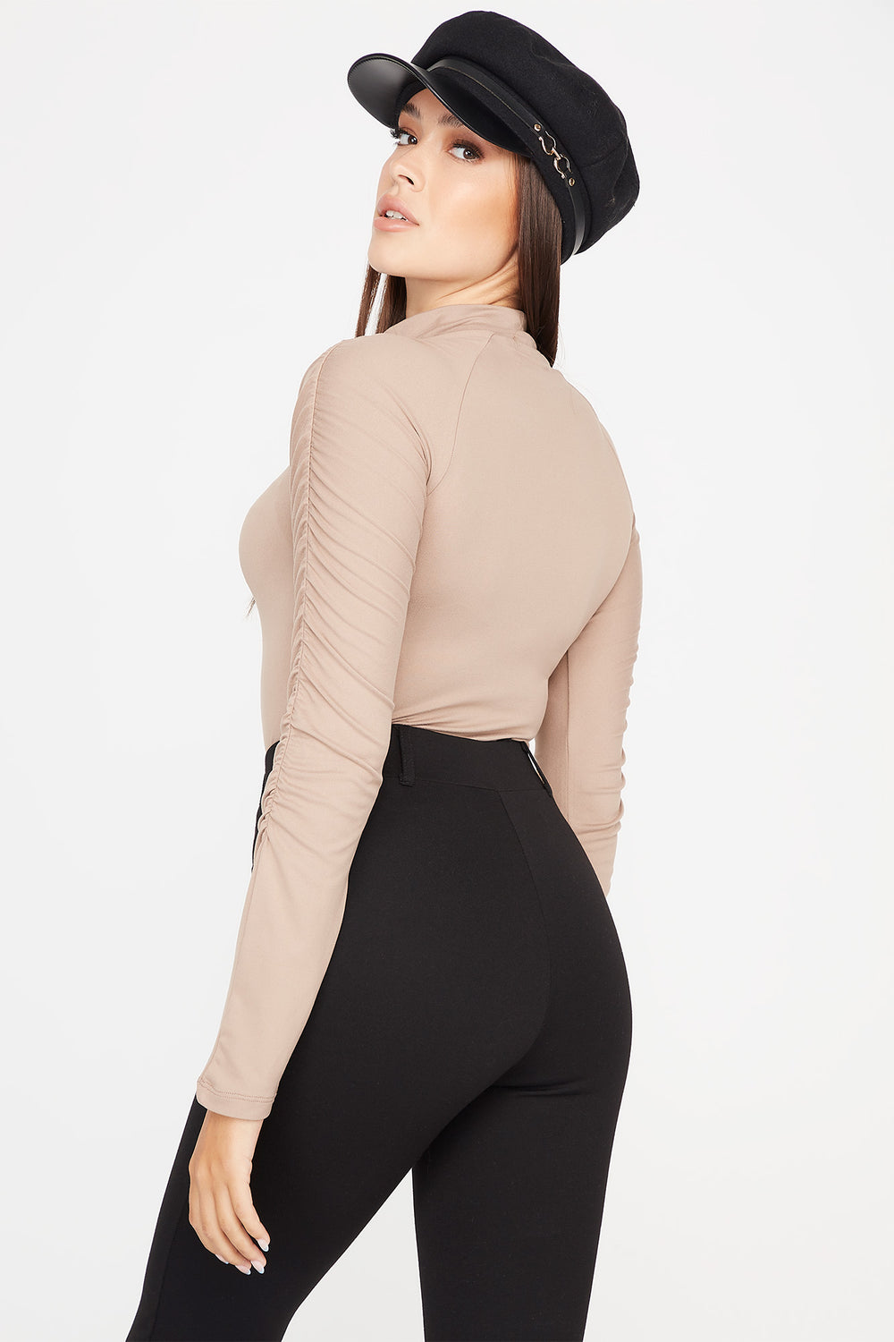 Soft Ruched Mock Neck Long Sleeve Bodysuit Taupe
