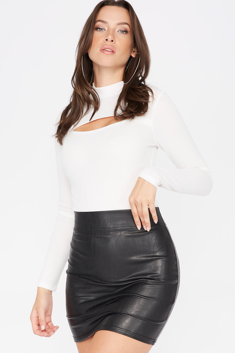 Cut Out Mock Neck Long Sleeve Bodysuit Ivory