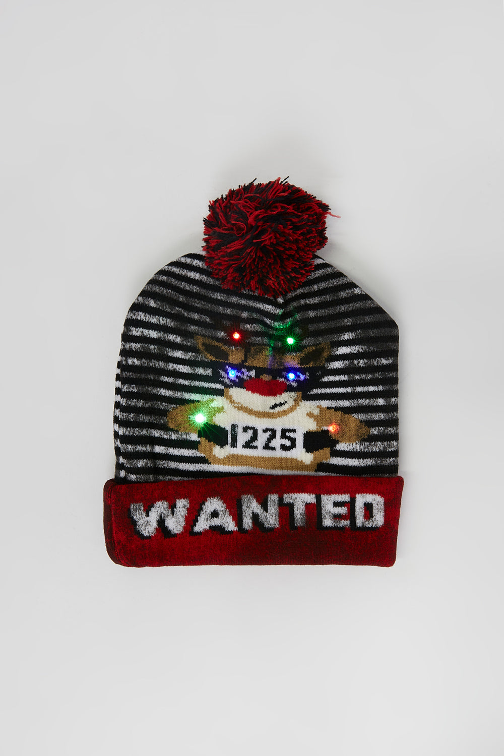 Light-Up Graphic Wanted Ugly Christmas Beanie White