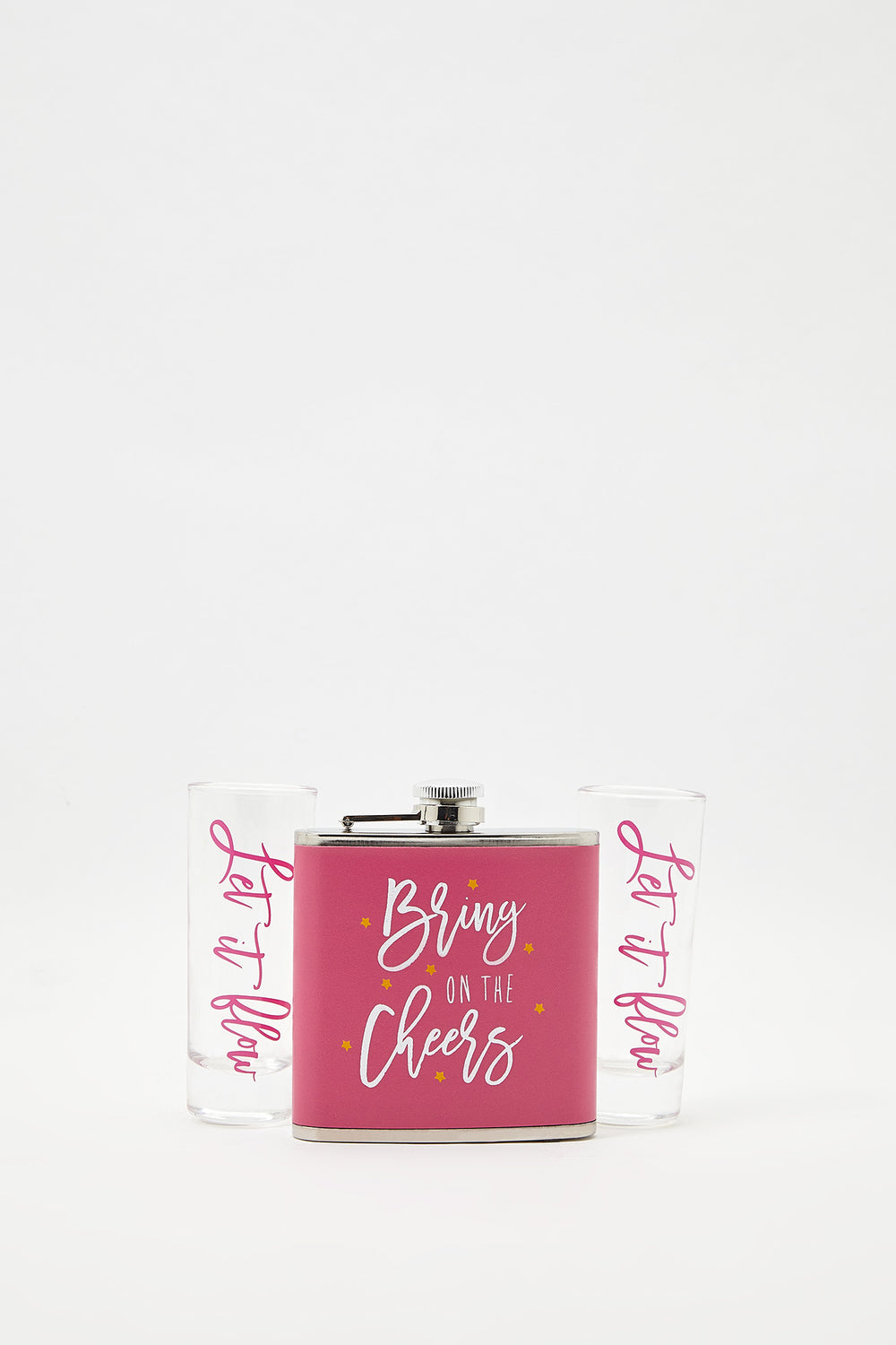 Graphic Flask & Shot Glasses Gift Set Pink