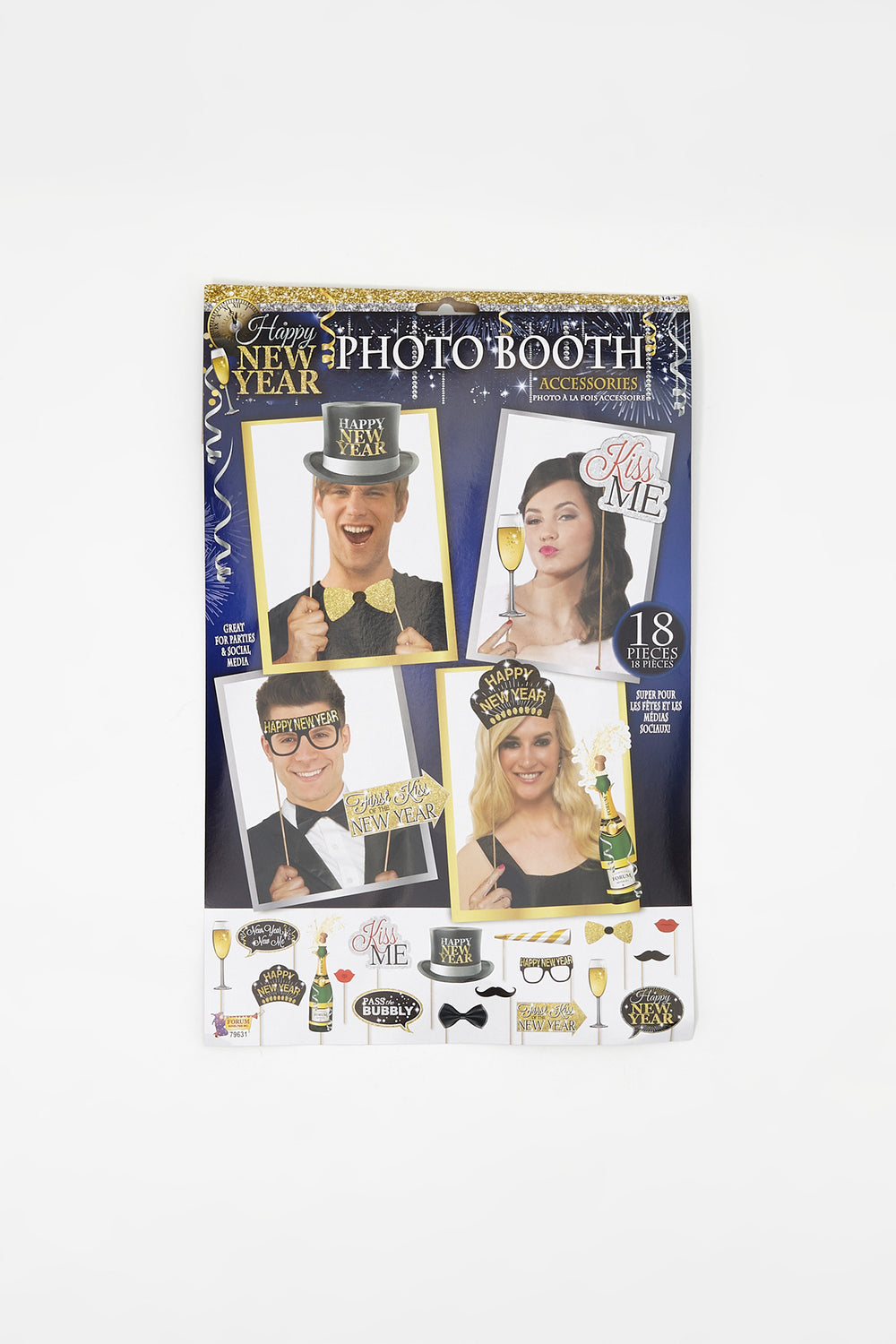 New Year Photo Booth Accessories (18 PC) Assorted