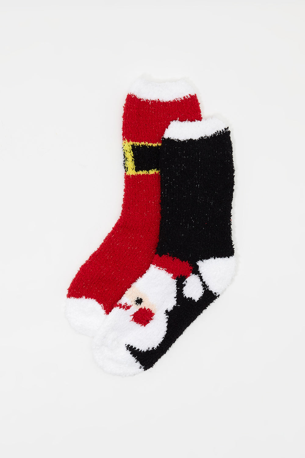 Holiday Fuzzy Crew Socks (2 Pairs) Red