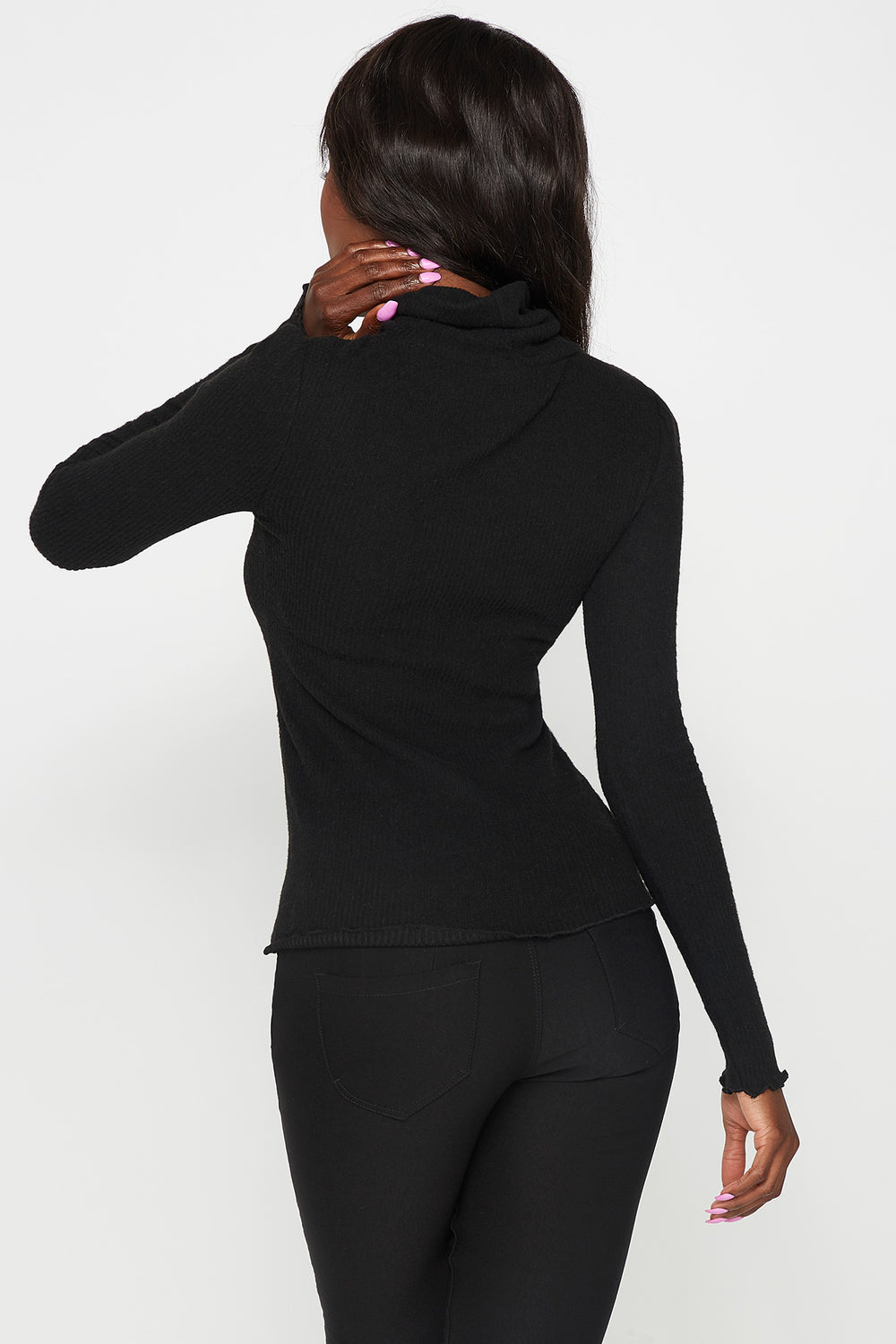 Ribbed Lettuce Trim Turtleneck Long Sleeve Top Black