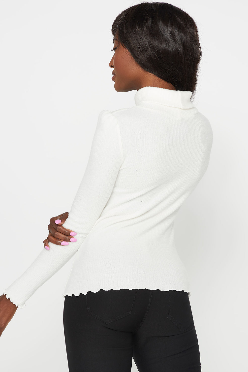 Ribbed Lettuce Trim Turtleneck Long Sleeve Top Off White