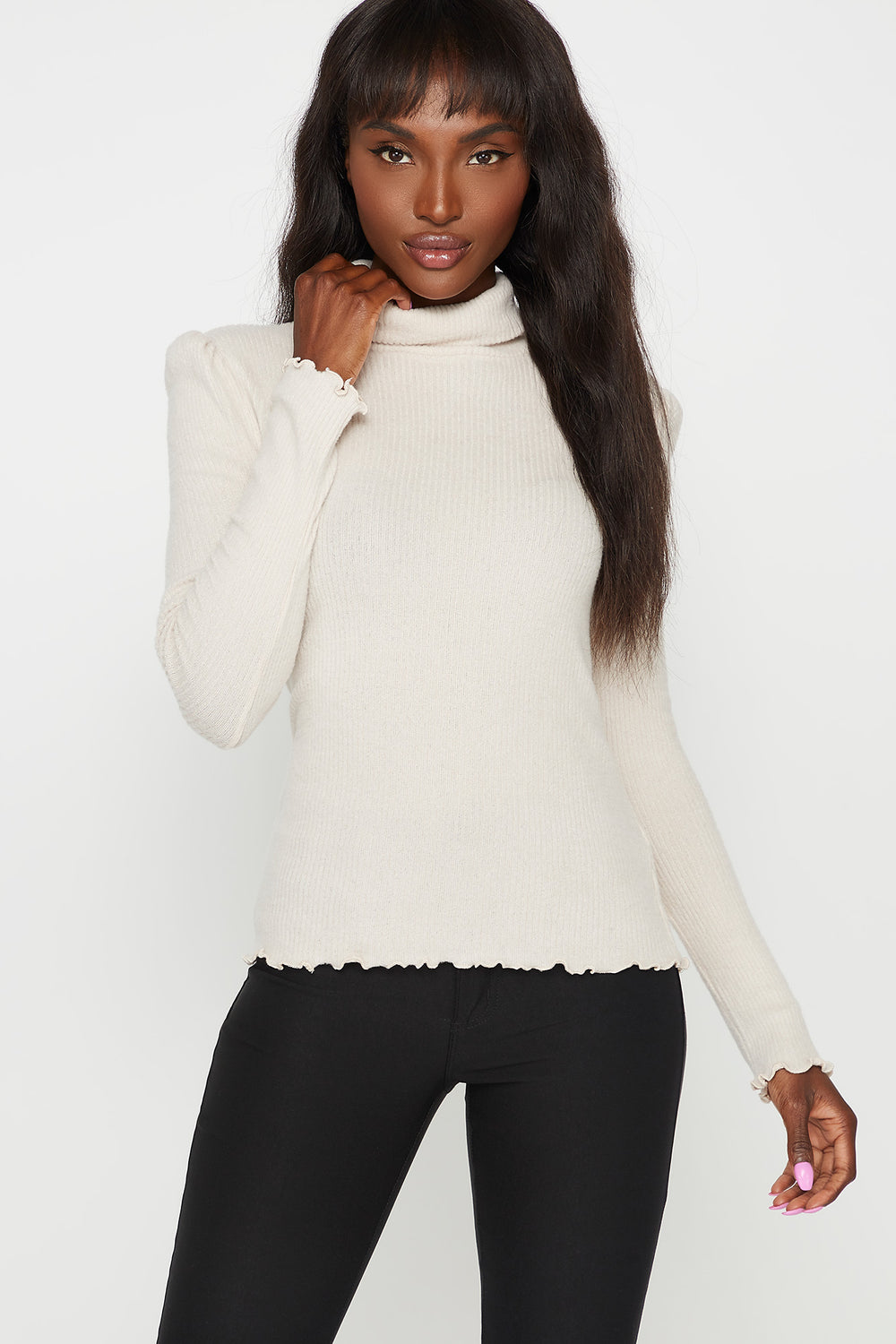 Ribbed Lettuce Trim Turtleneck Long Sleeve Top Oatmeal