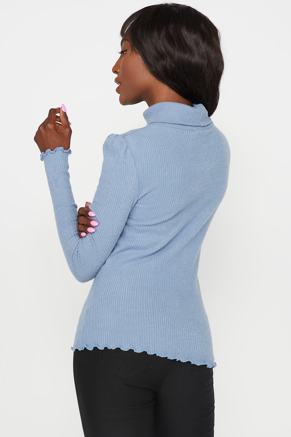 Ribbed Lettuce Trim Turtleneck Long Sleeve Top Light Blue