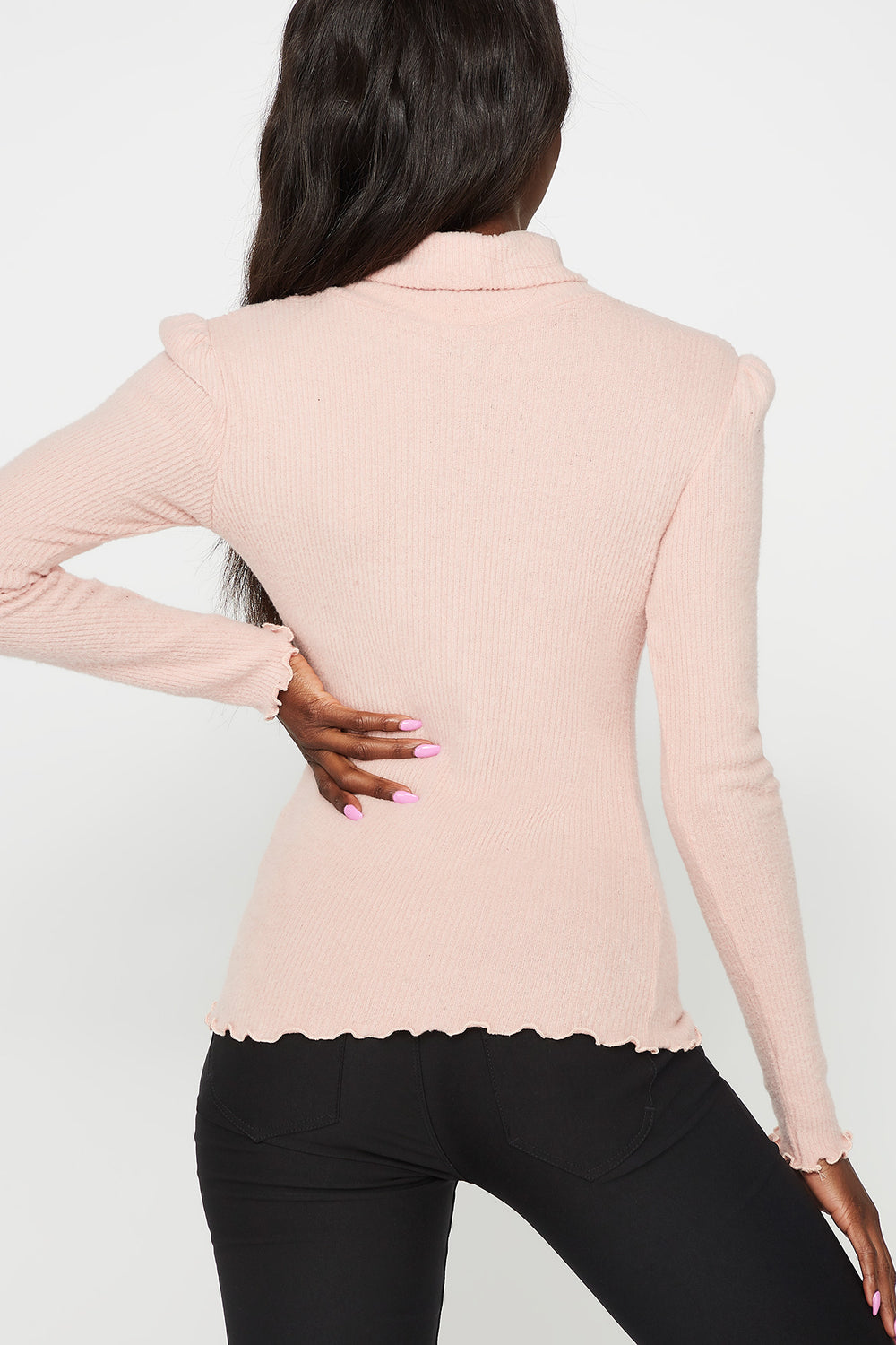 Ribbed Lettuce Trim Turtleneck Long Sleeve Top Light Pink