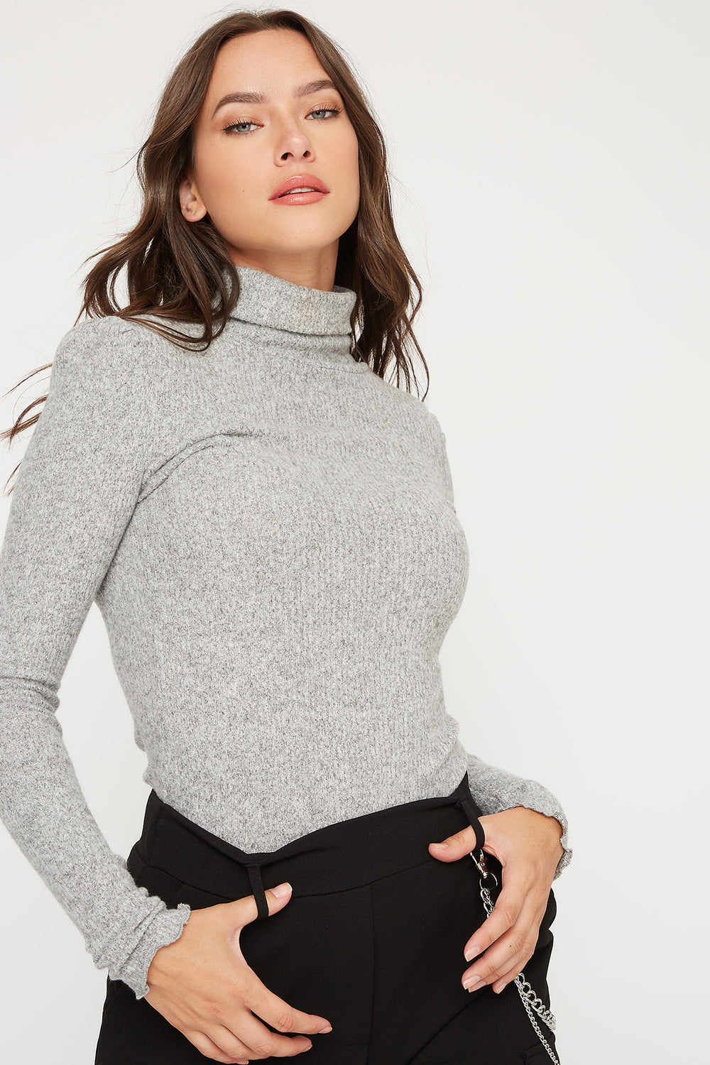 Ribbed Lettuce Trim Turtleneck Long Sleeve Top Heather Grey