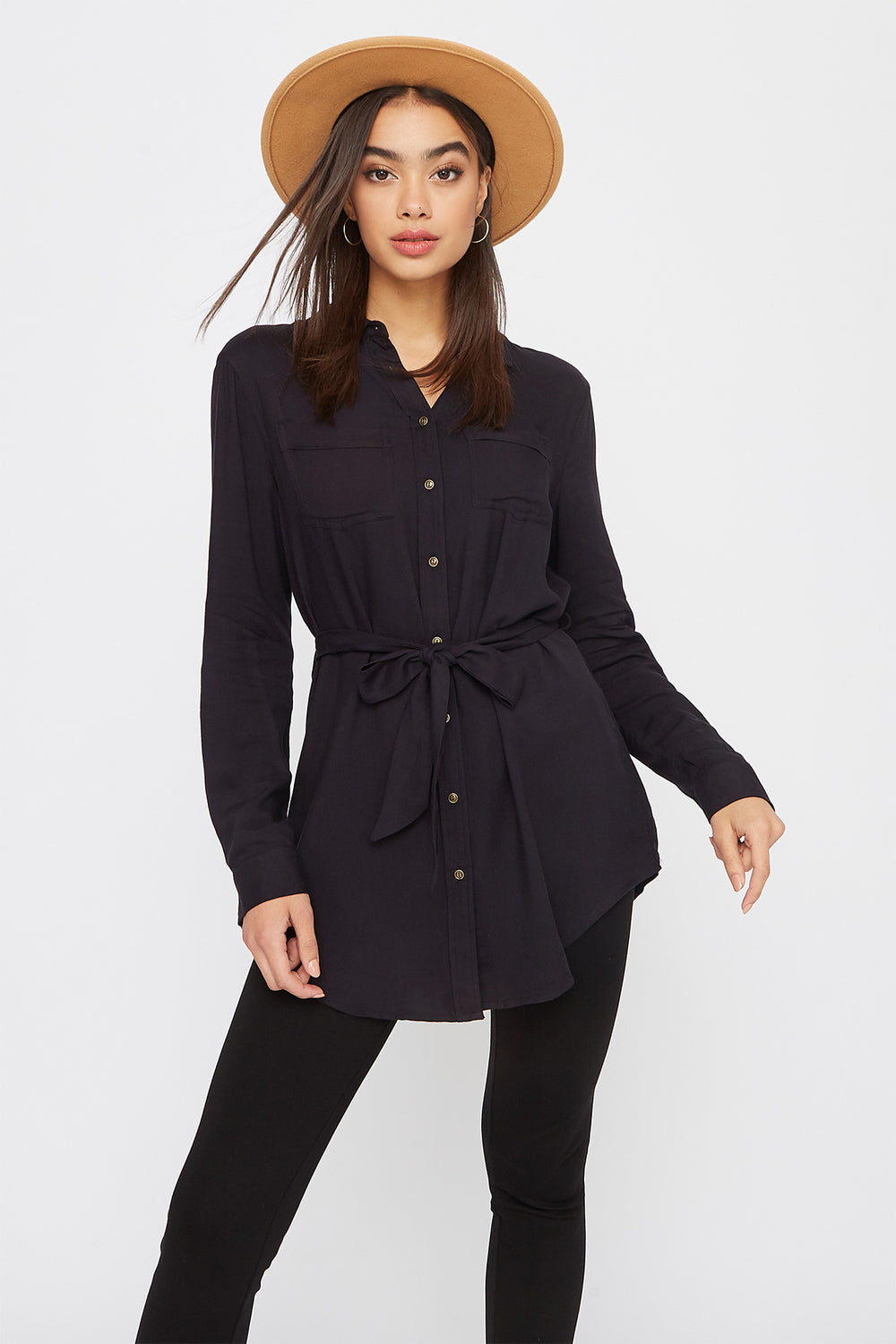 Utility Self Belted Shirt Black