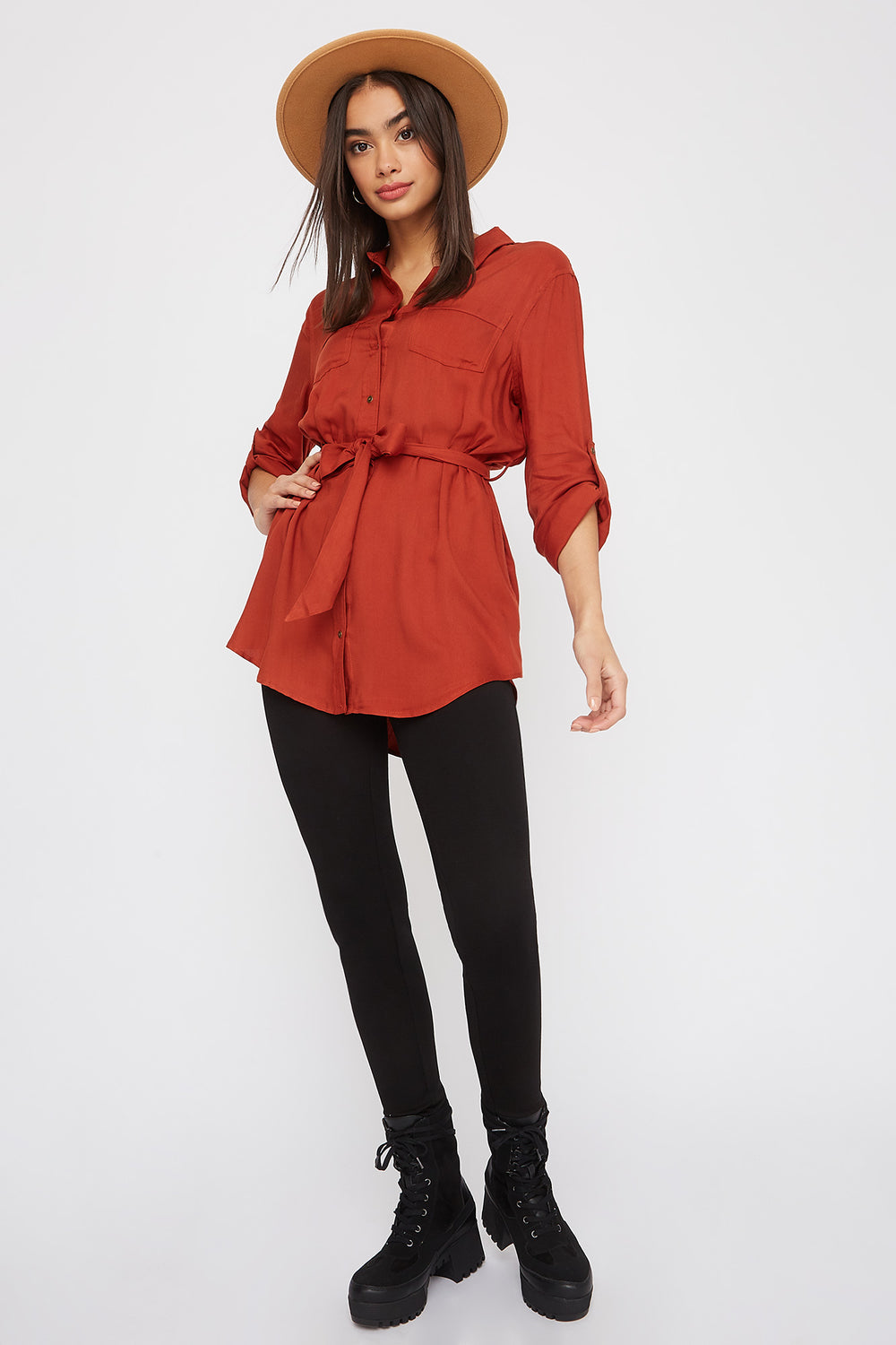 Utility Self Belted Shirt Rust