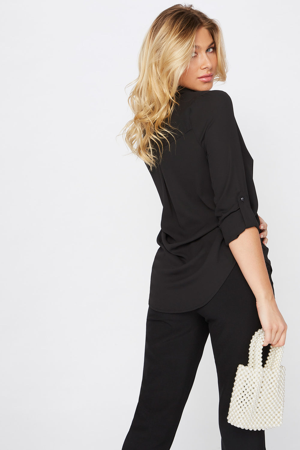 Roll Tab Button-Up Blouse Black