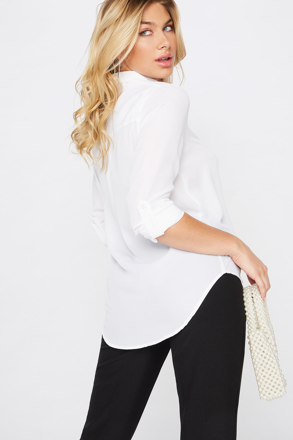 Roll Tab Button-Up Blouse White