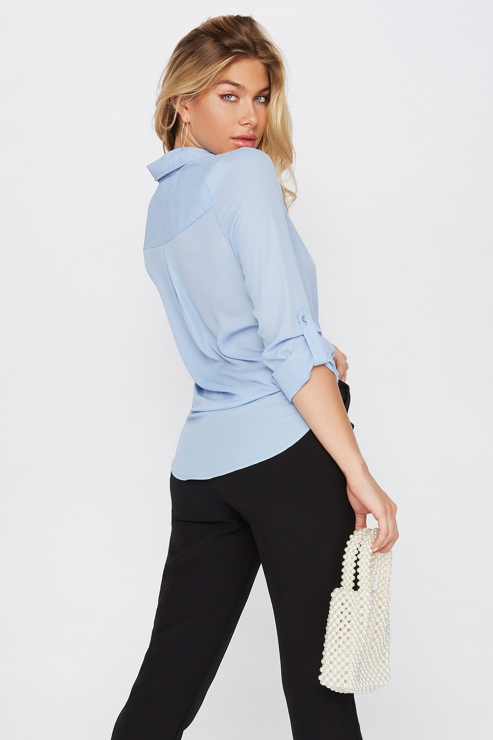 Roll Tab Button-Up Blouse Light Blue