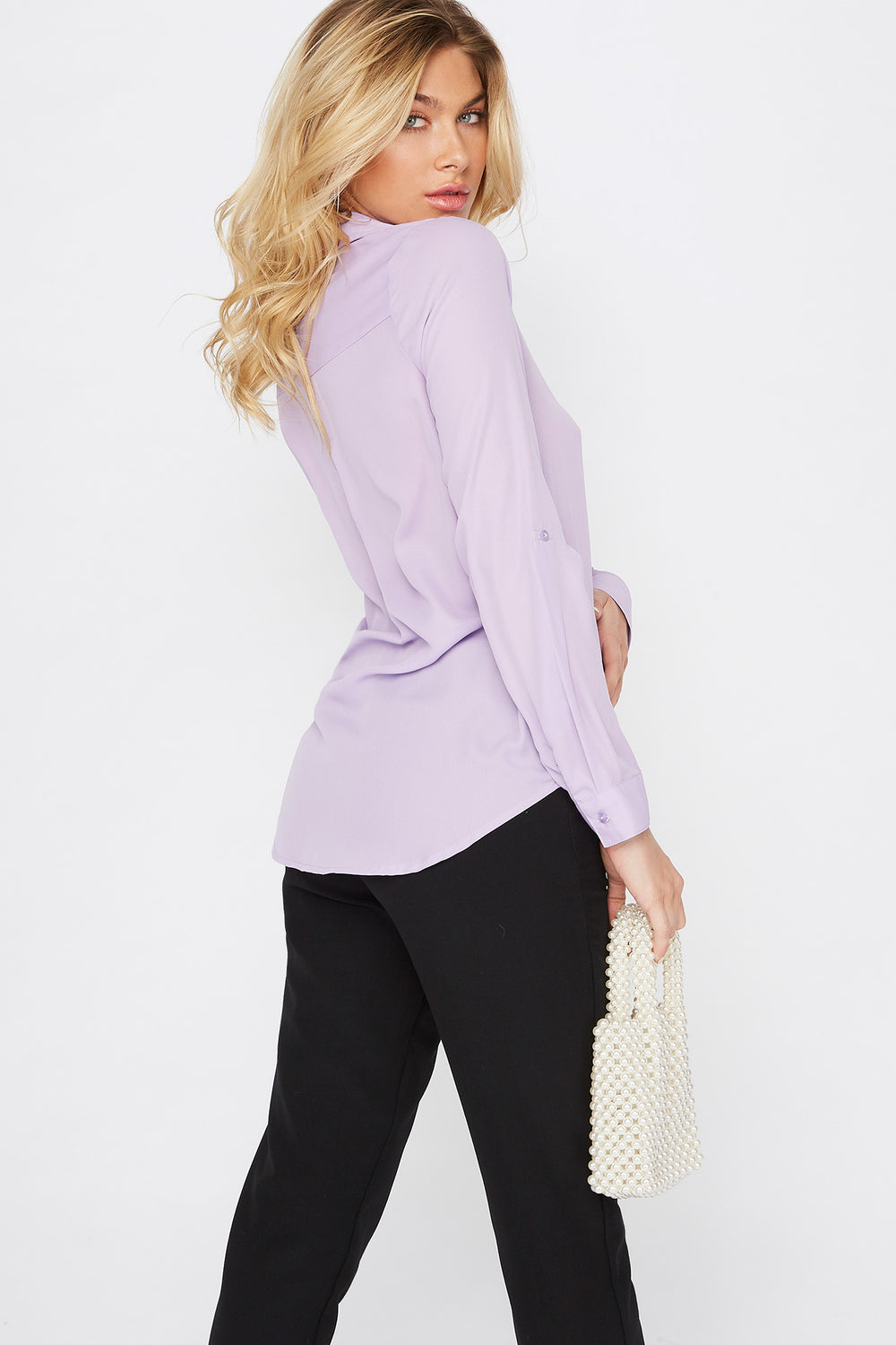 Roll Tab Button-Up Blouse Lilac