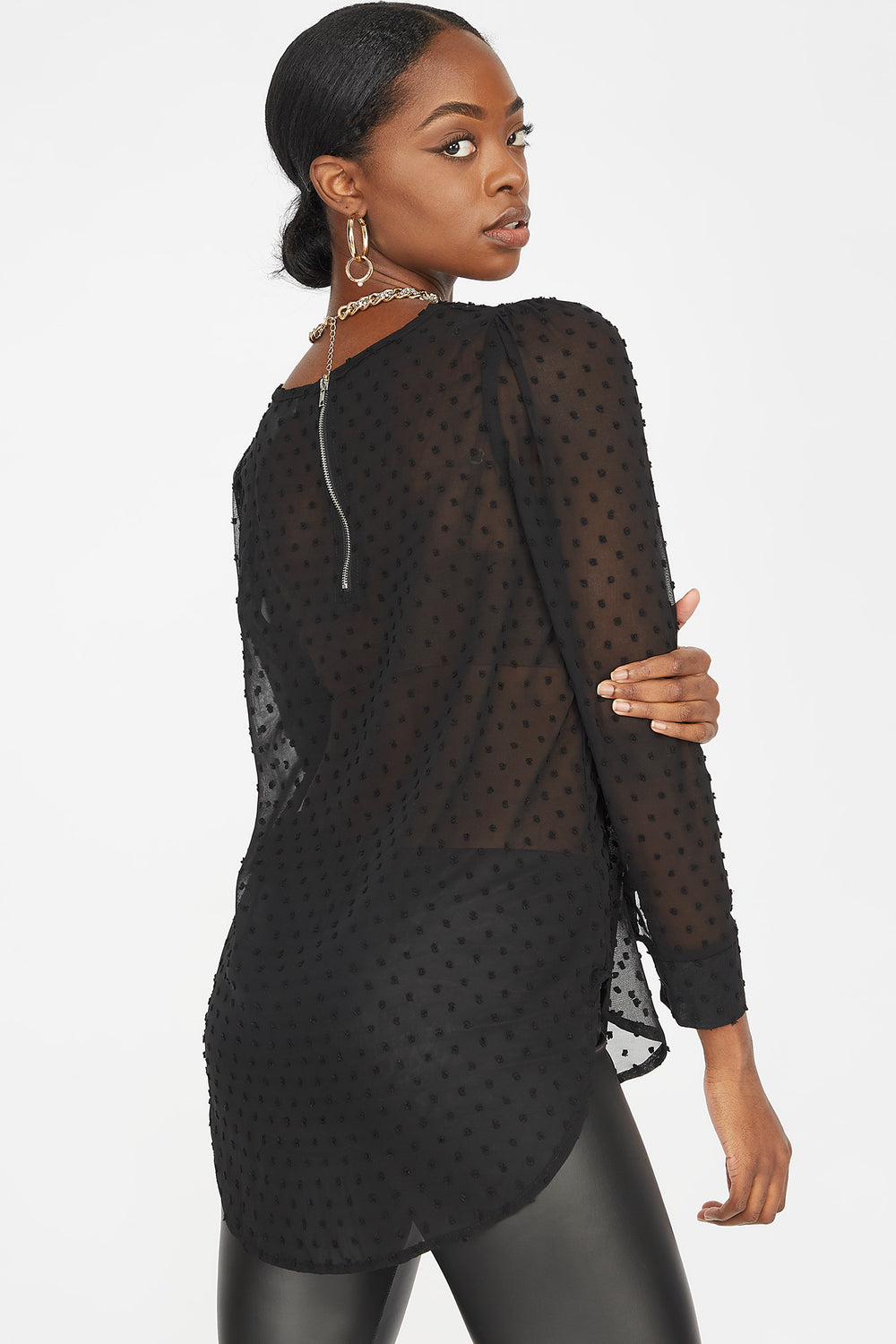 Dotted Mesh Long Puff Sleeve Blouse Black
