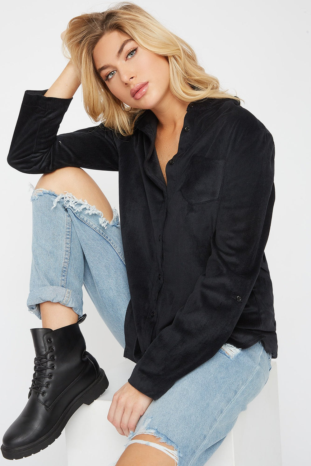 Super Soft Corduroy High-Low Shirt Black