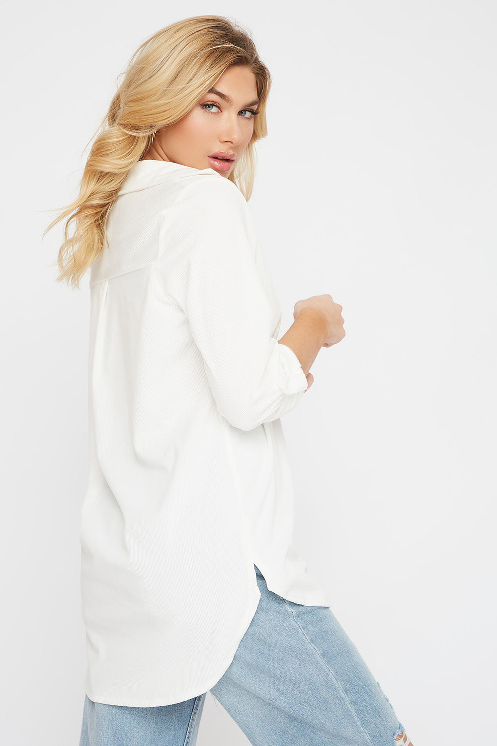 Super Soft Corduroy High-Low Shirt White