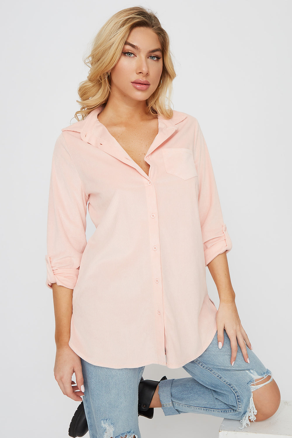Super Soft Corduroy High-Low Shirt Dusty Rose
