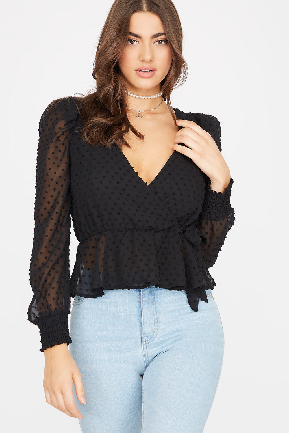 Sheer Dotted Wrap Front Tie Peplum Blouse Black