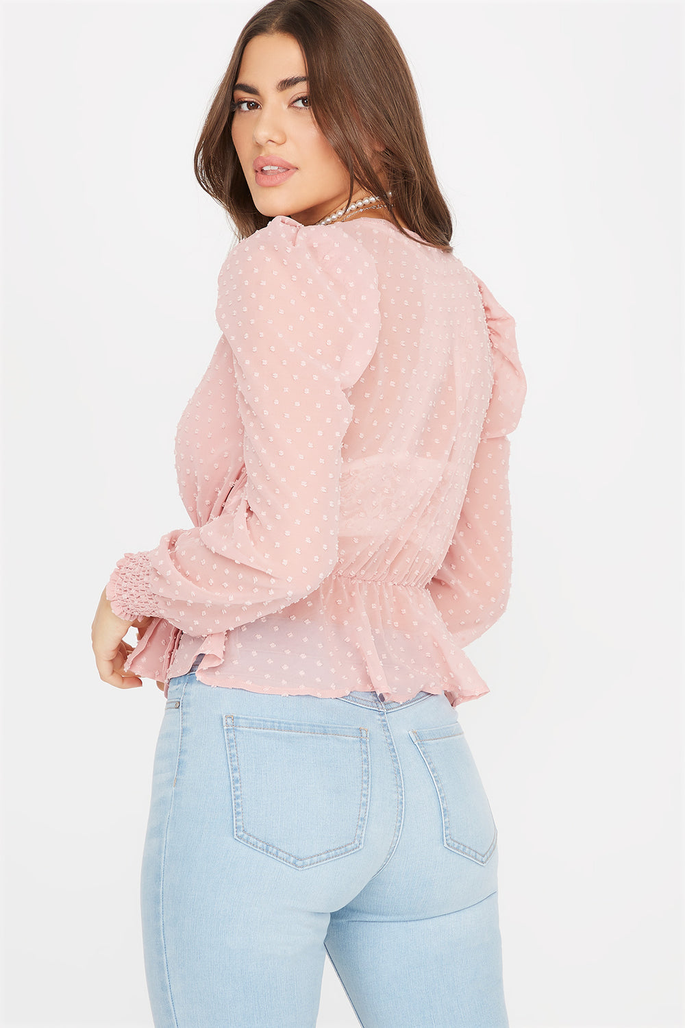 Sheer Dotted Wrap Front Tie Peplum Blouse Rose