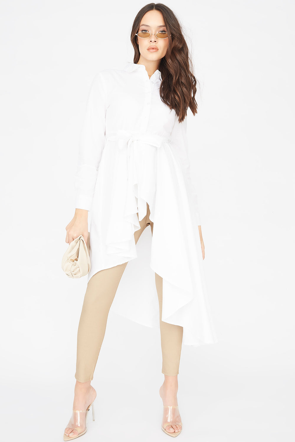 Asymmetrical Button-Up Self-Tie Belted Tunic Top White