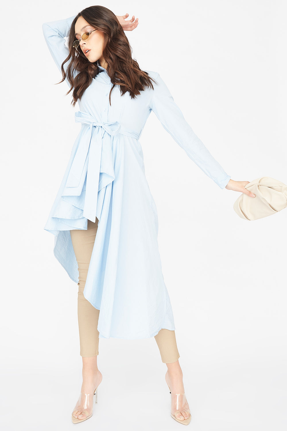 Asymmetrical Button-Up Self-Tie Belted Tunic Top Light Blue