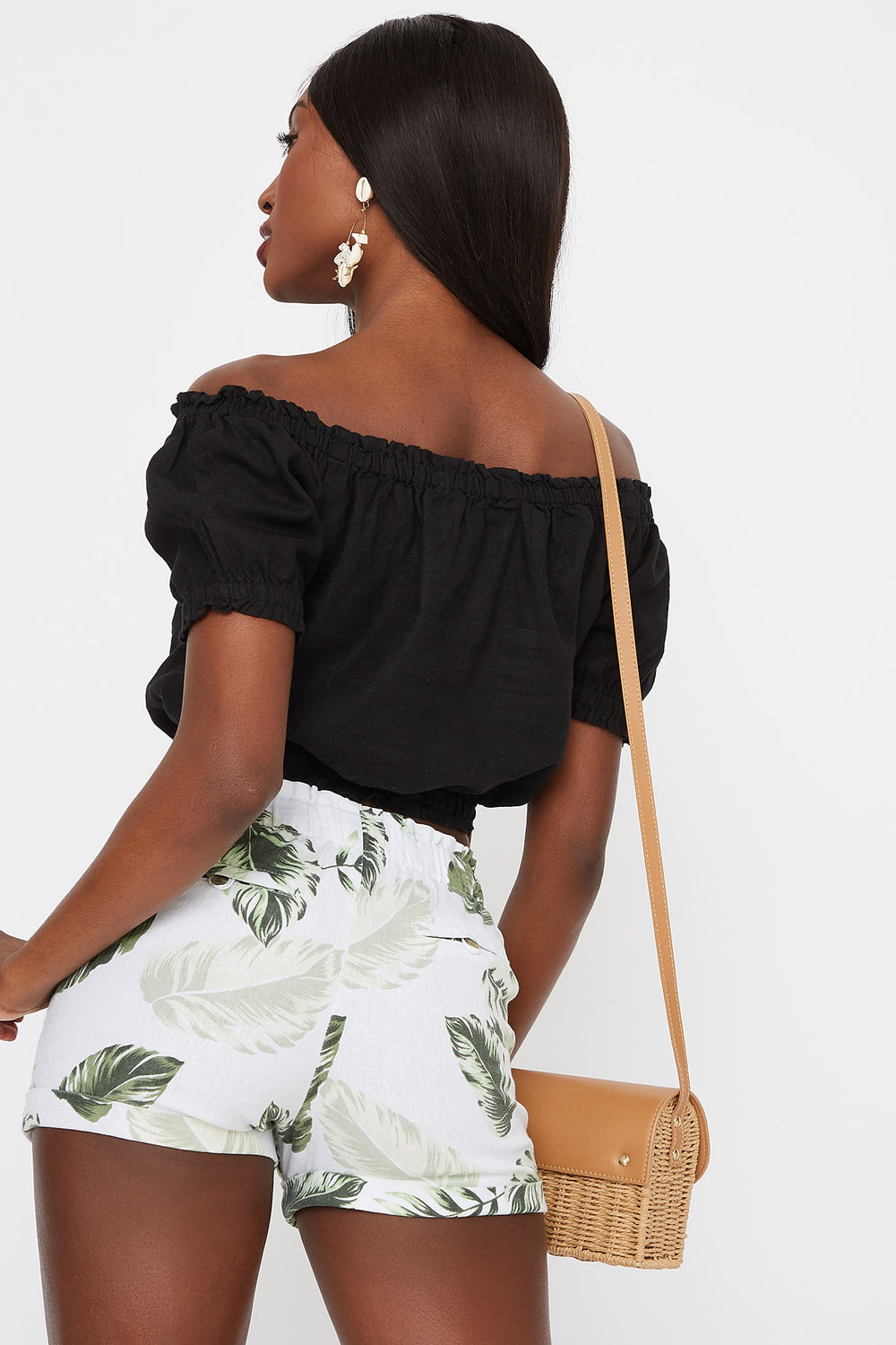 Off The Shoulder Button Front Cropped Linen Top Black