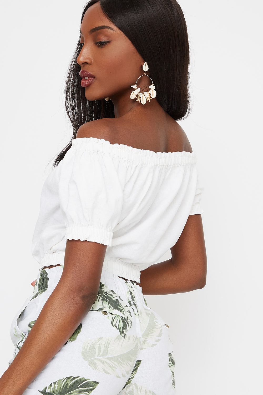 Off The Shoulder Button Front Cropped Linen Top White