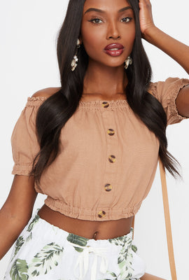 Off The Shoulder Button Front Cropped Linen Top
