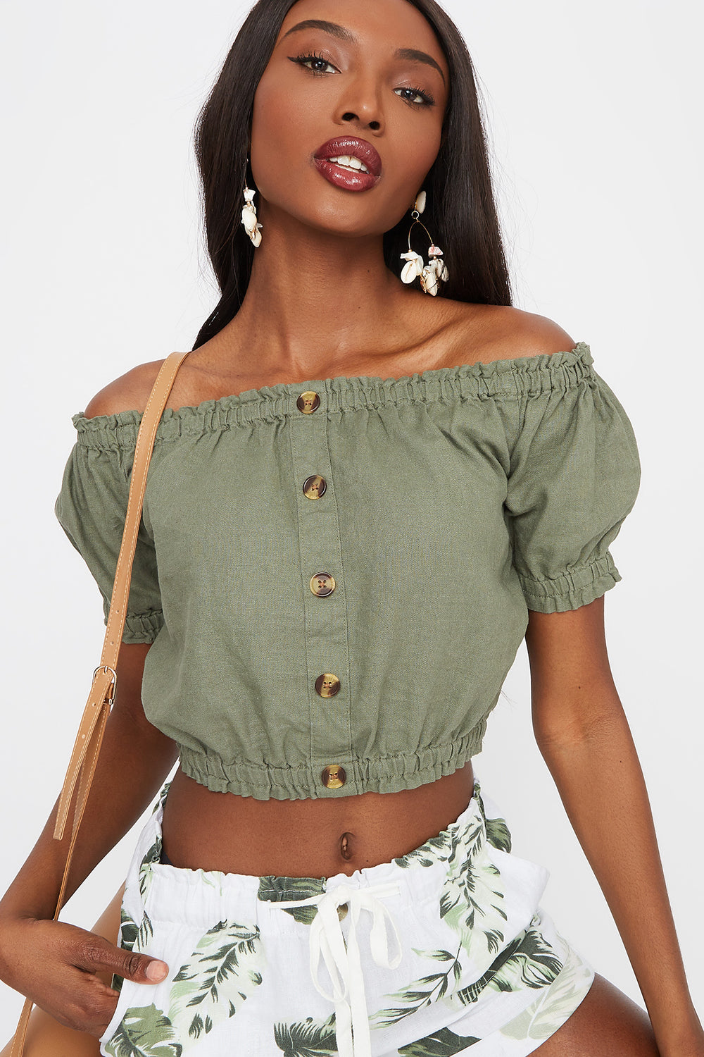 Off The Shoulder Button Front Cropped Linen Top Dark Green