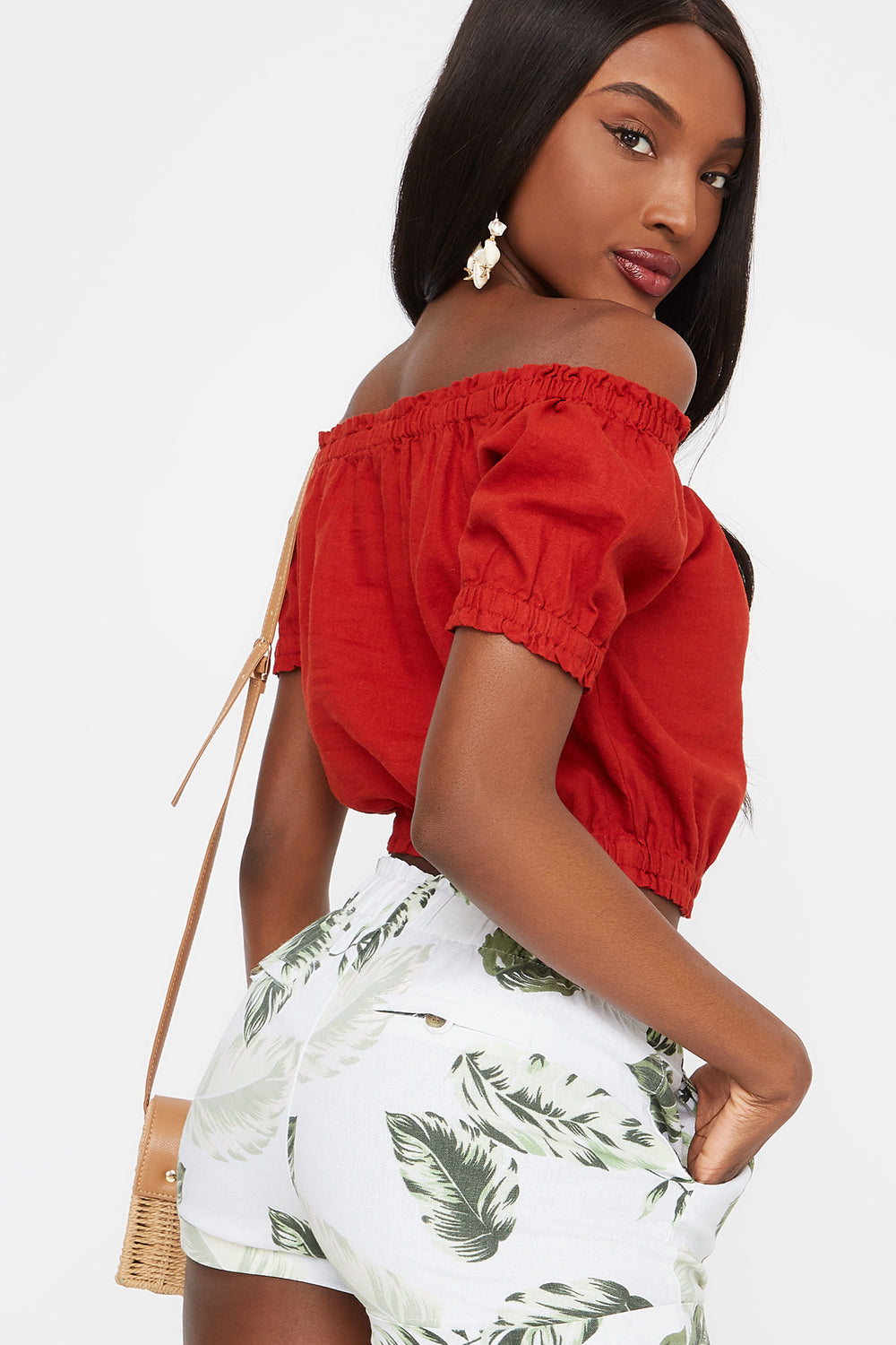 Off The Shoulder Button Front Cropped Linen Top Rust