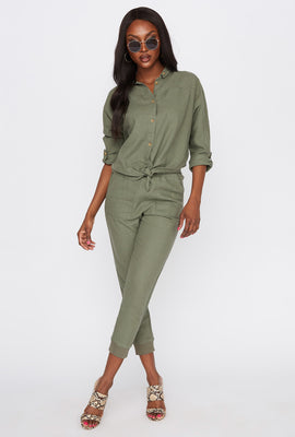 Linen Button-Up Roll-Tab Knot Front Shirt