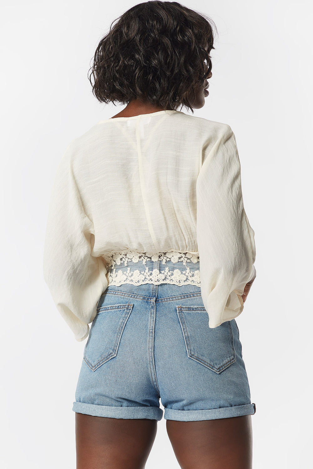 Lace Crochet Self-Tie Front Blouse Ivory