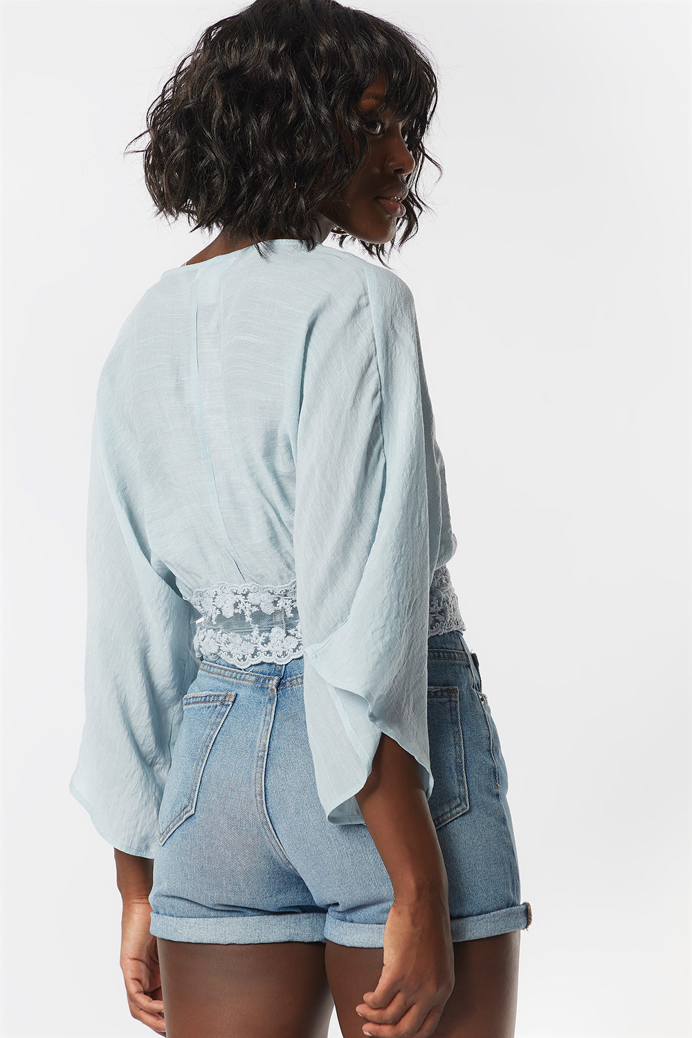Lace Crochet Self-Tie Front Blouse Light Blue