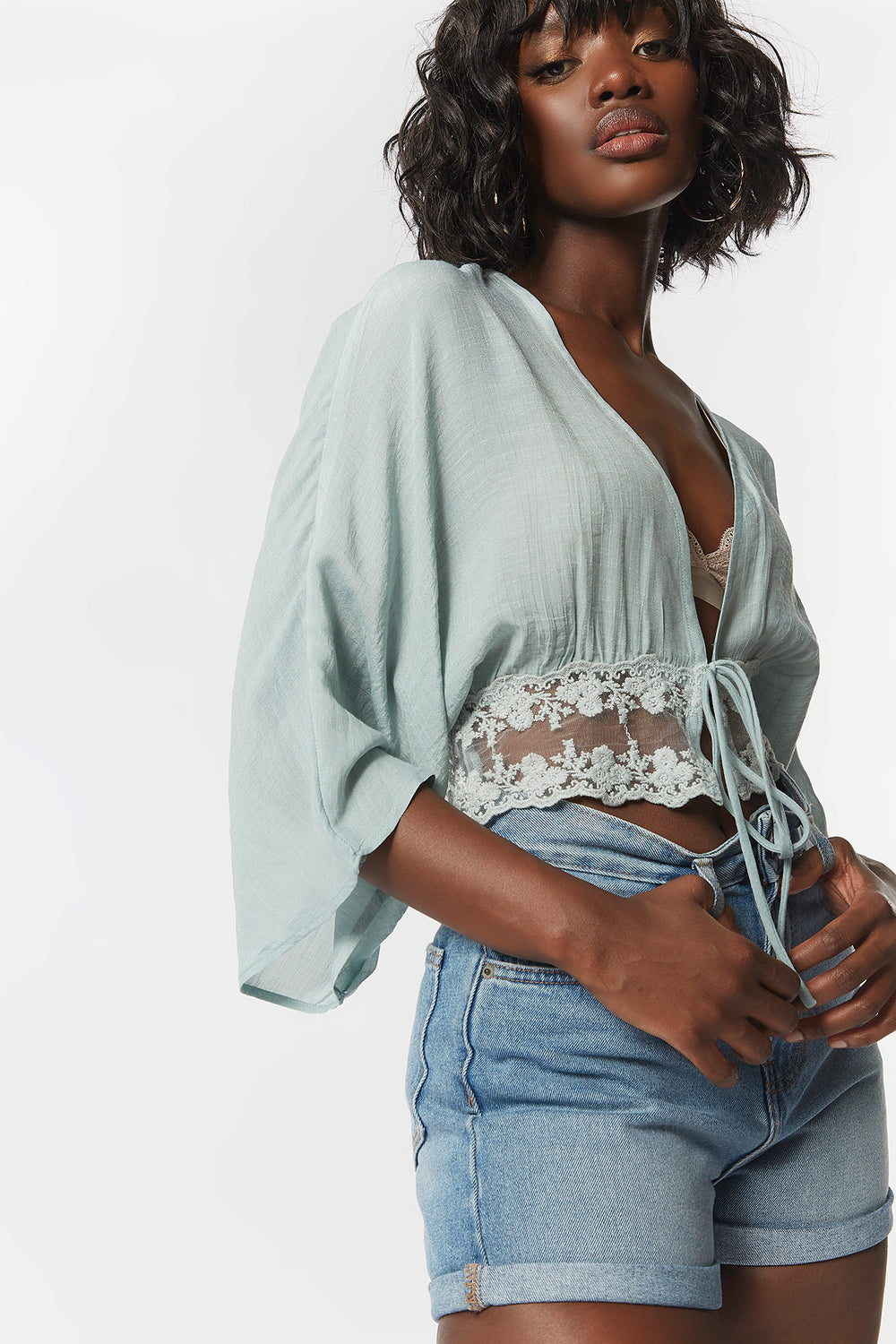 Lace Crochet Self-Tie Front Blouse Sage