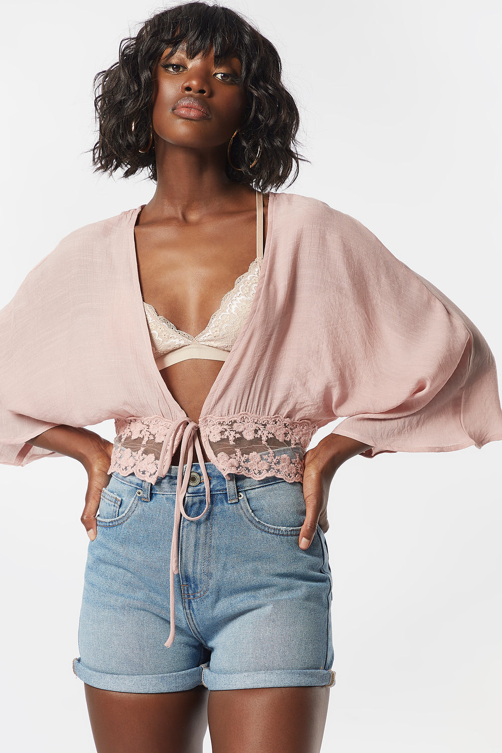 Lace Crochet Self-Tie Front Blouse Rose