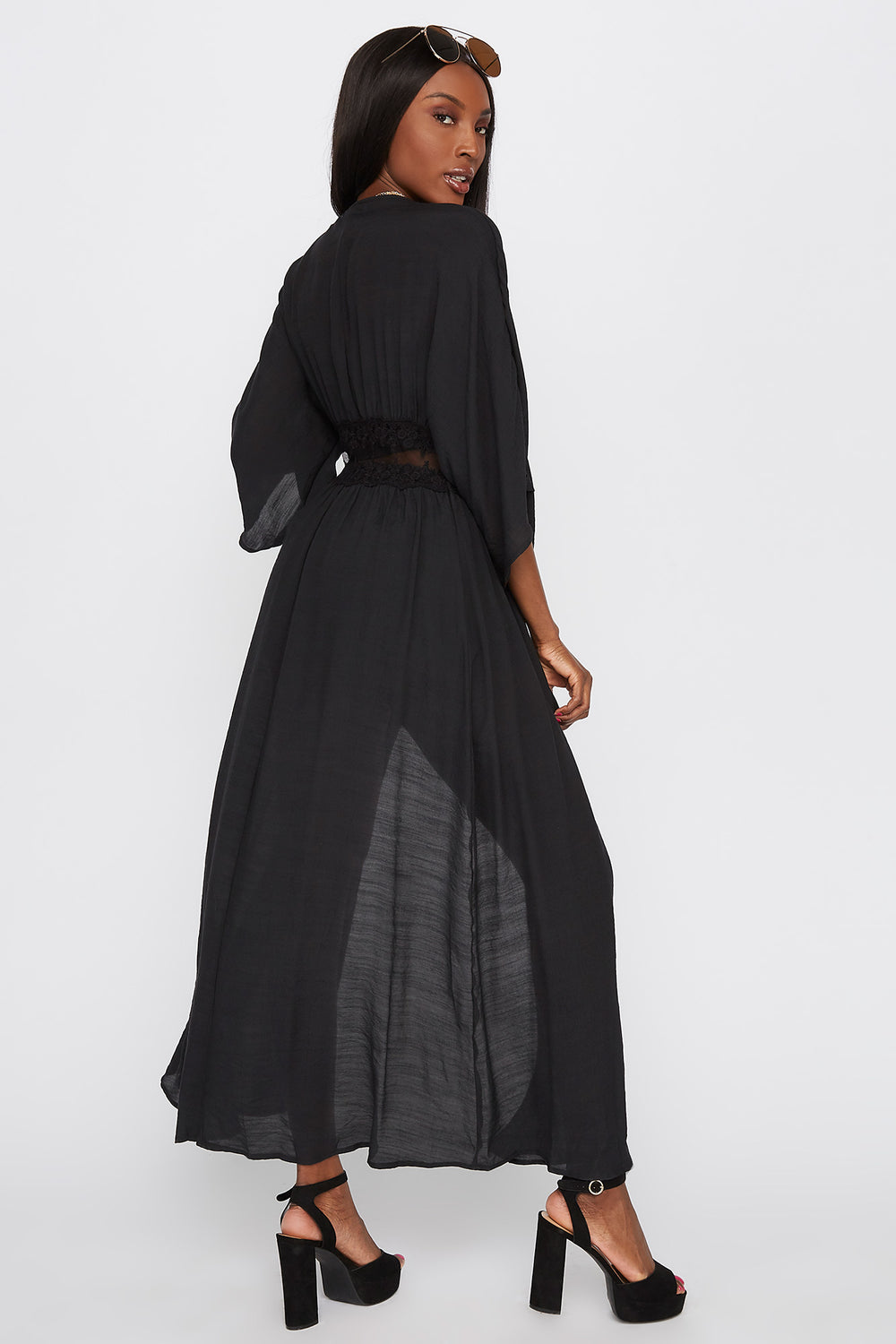 Mesh Insert Self Tie Maxi Cardigan Black