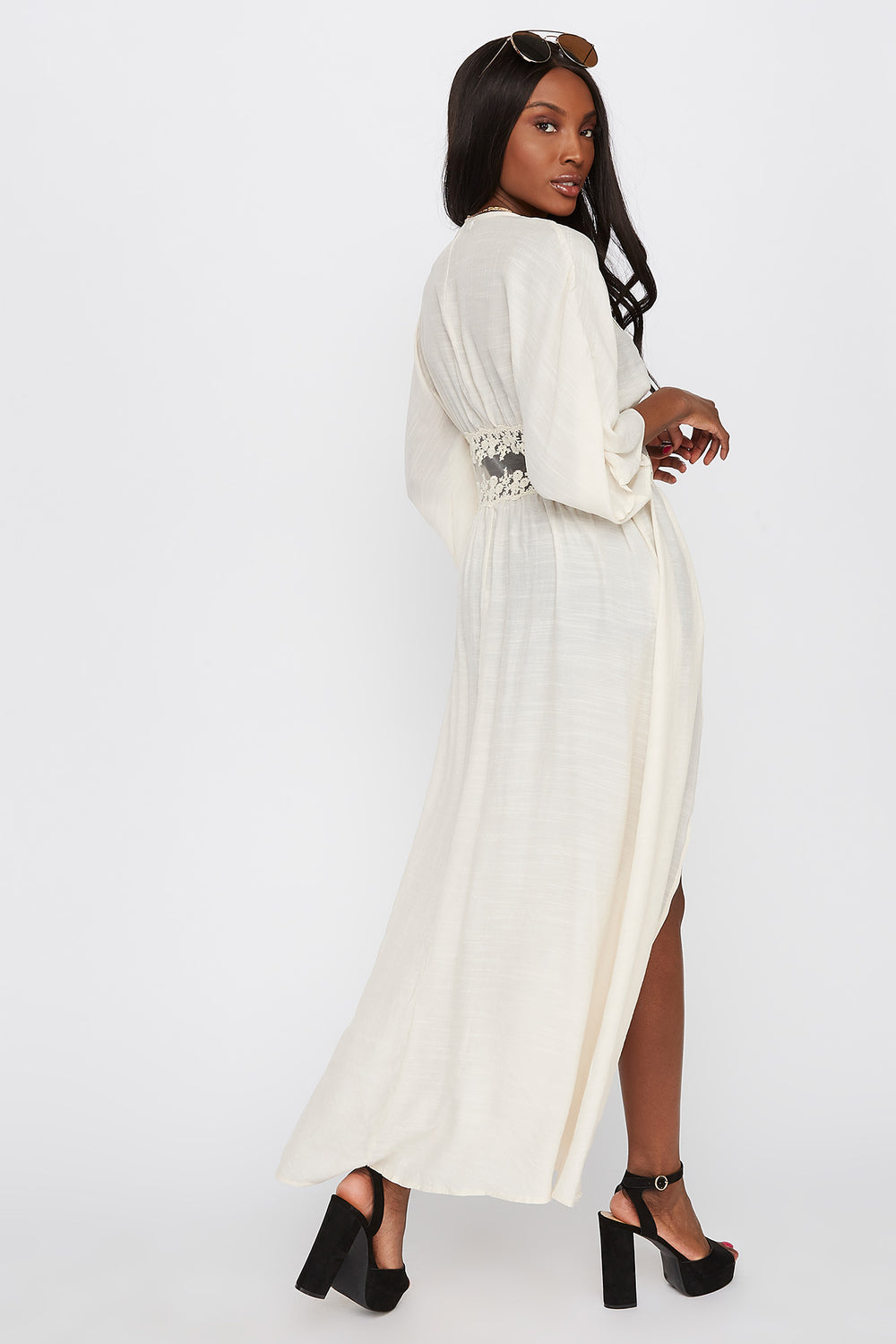 Mesh Insert Self Tie Maxi Cardigan Natural
