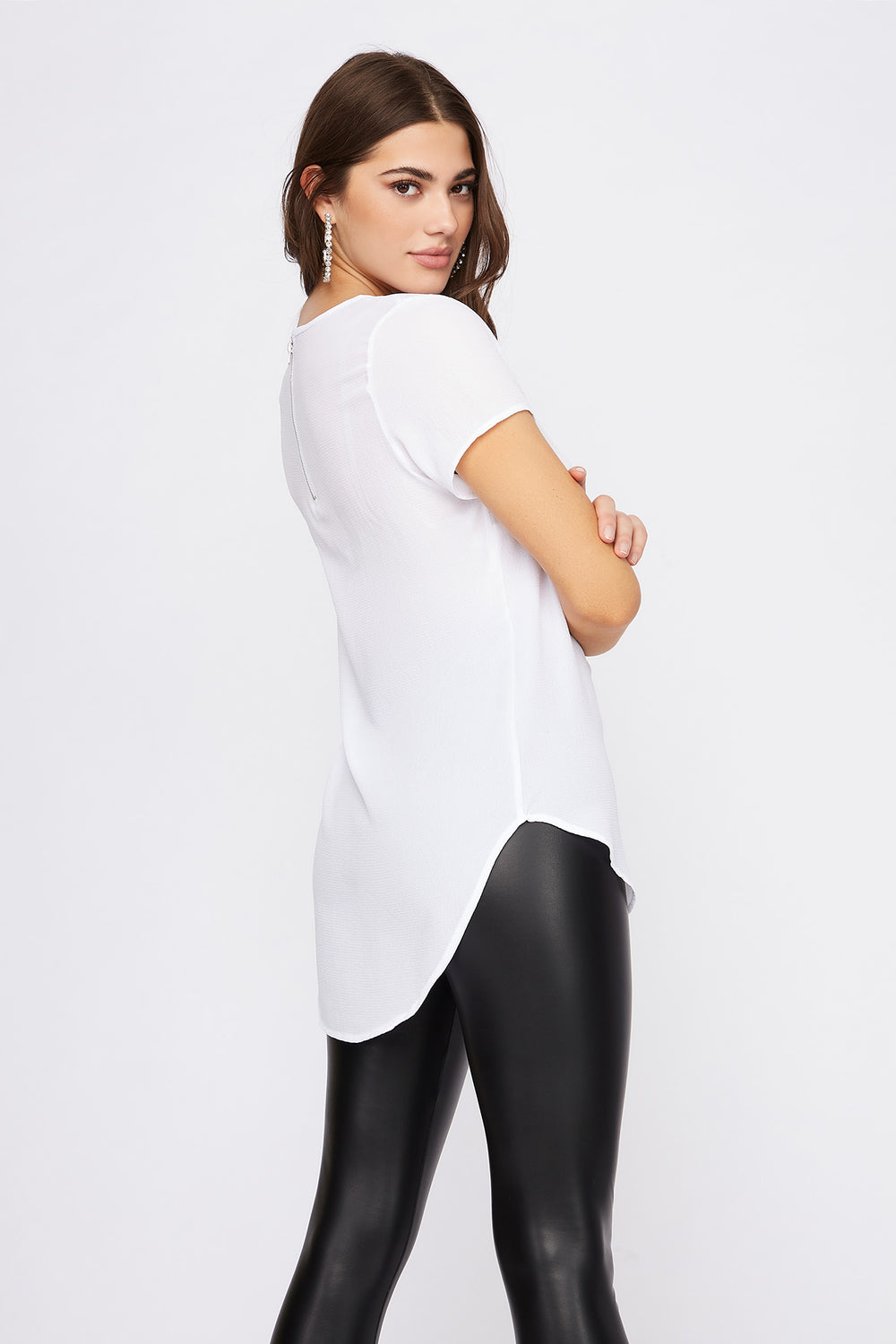 Crepe High-Low Zipper Back Blouse White