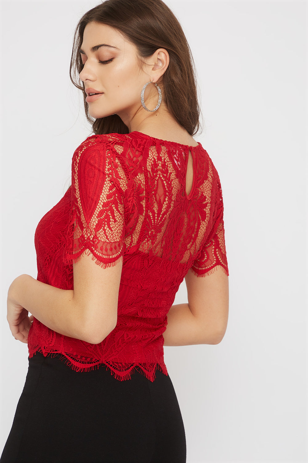 Lace Scallop Blouse Red