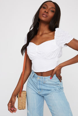 Cropped Smocked Eyelet Peasant Top
