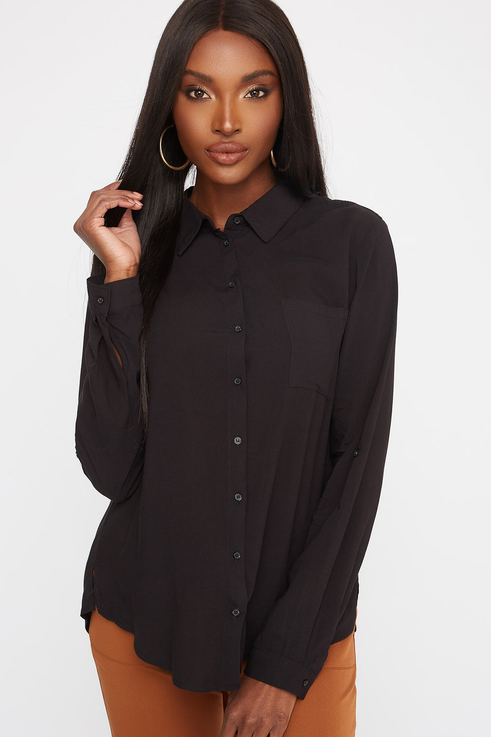 Button-Up Roll-Tab Long Sleeve Shirt Black