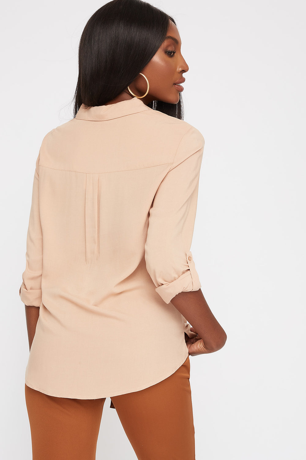 Button-Up Roll-Tab Long Sleeve Shirt Taupe