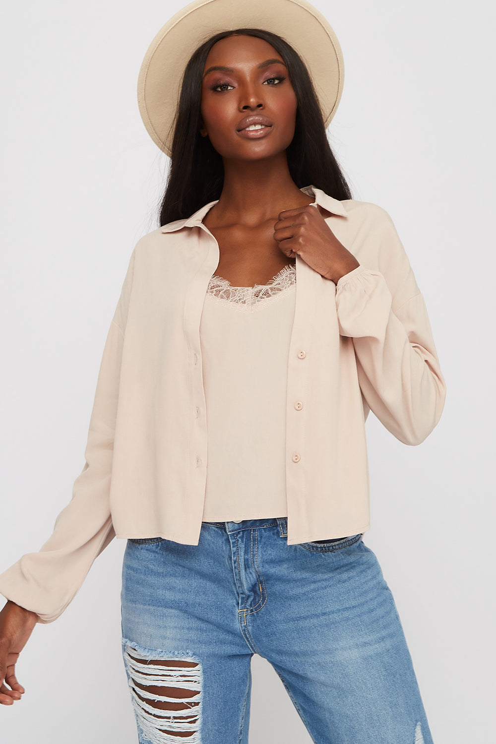 Lace Camisole and Button-Up Shirt Beige