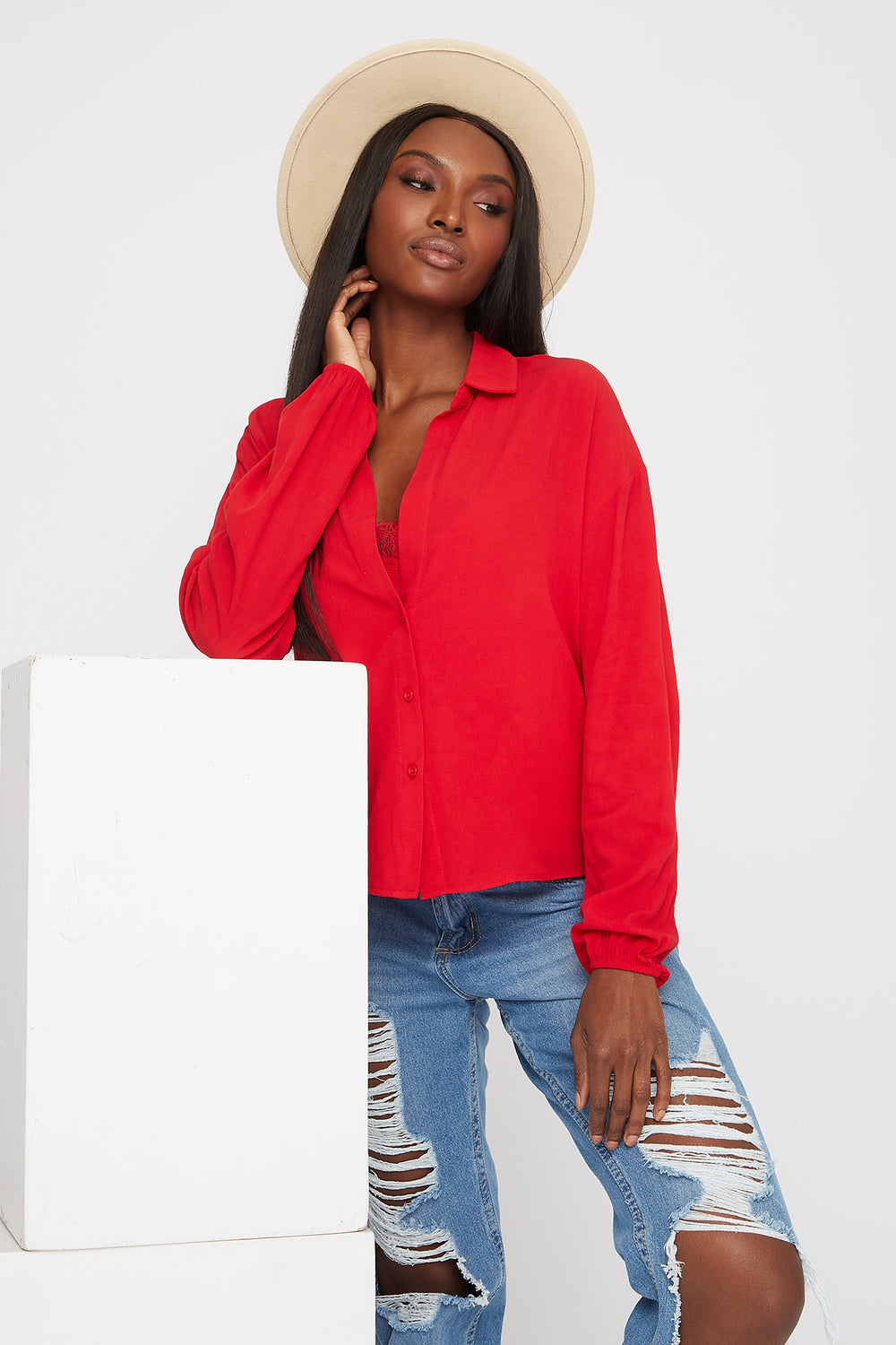 Lace Camisole and Button-Up Shirt Red