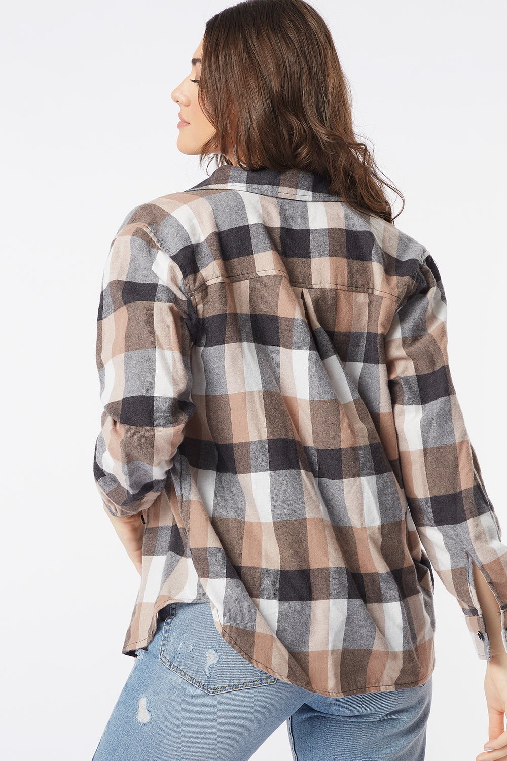 Plaid Flannel Button-Up Long Sleeve Top Tan