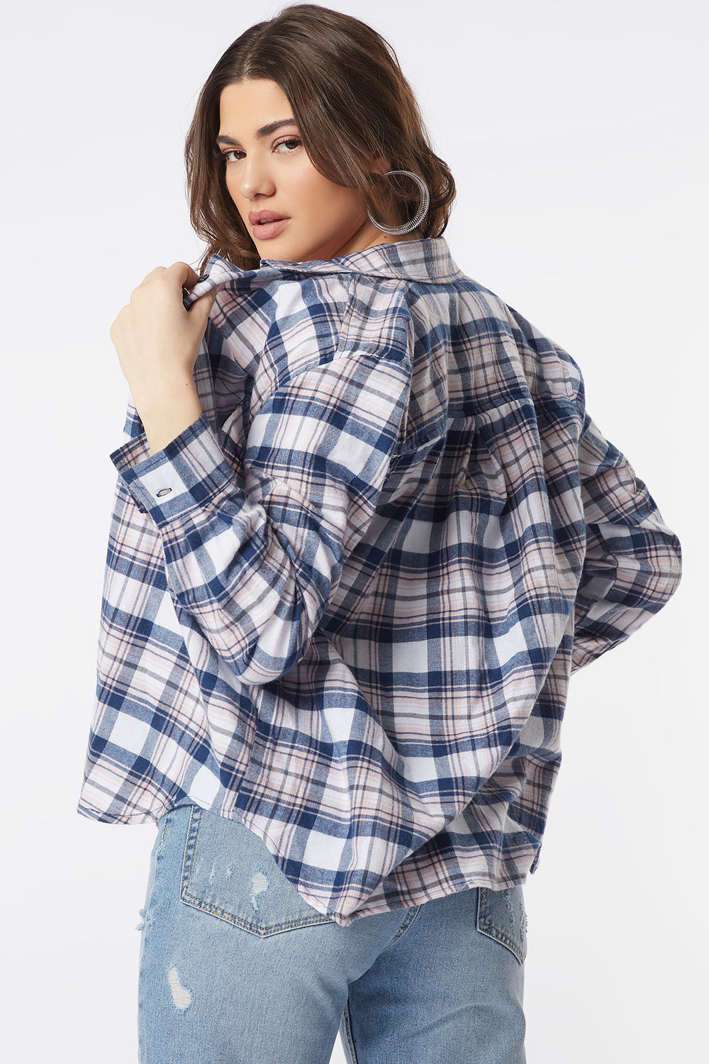 Plaid Flannel Button-Up Long Sleeve Top Pink