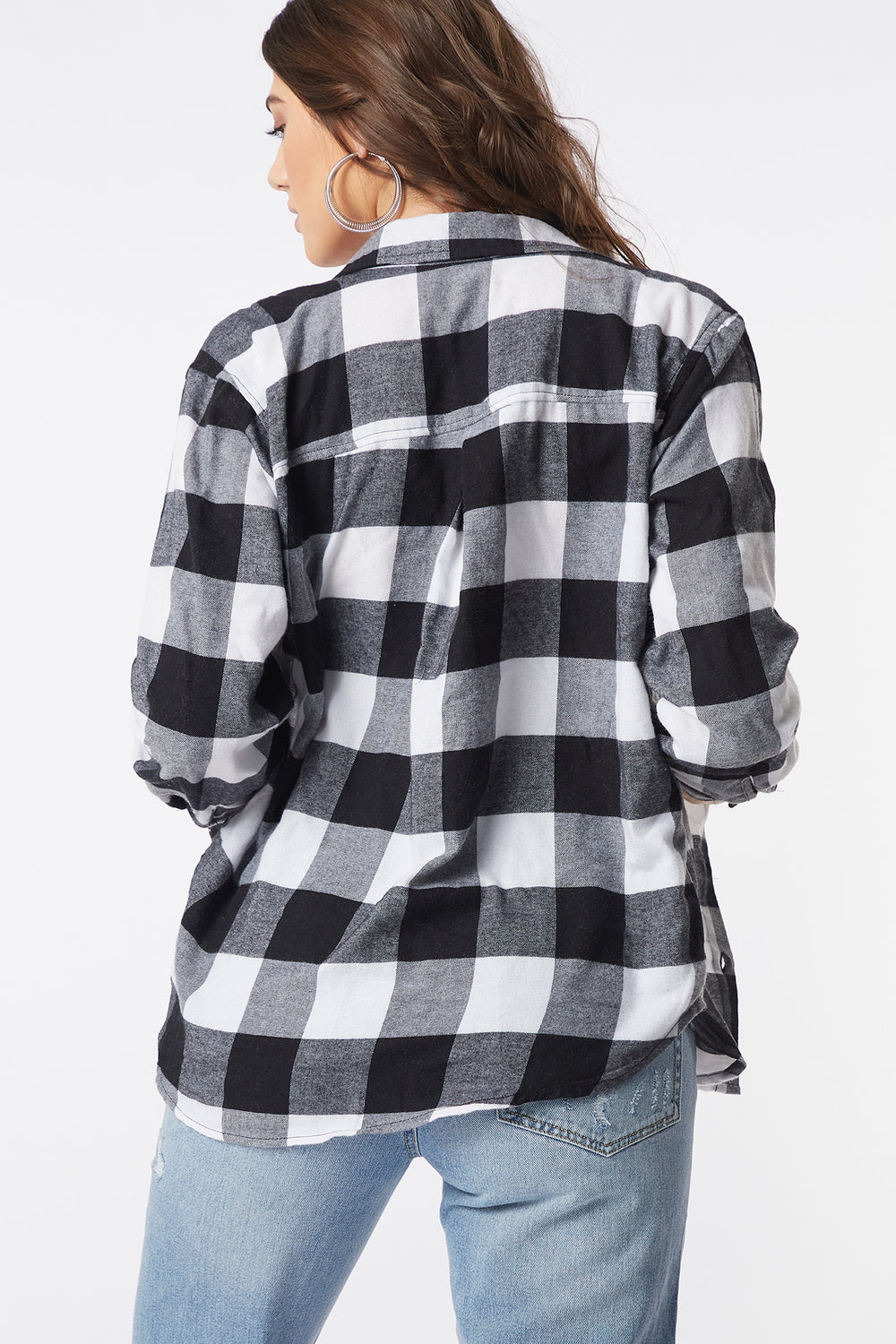 Plaid Flannel Button-Up Long Sleeve Top Black with White