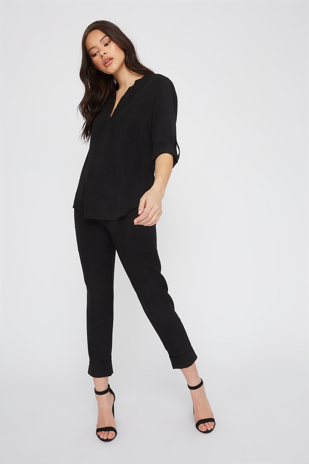 V-Neck Roll Tab Blouse Black