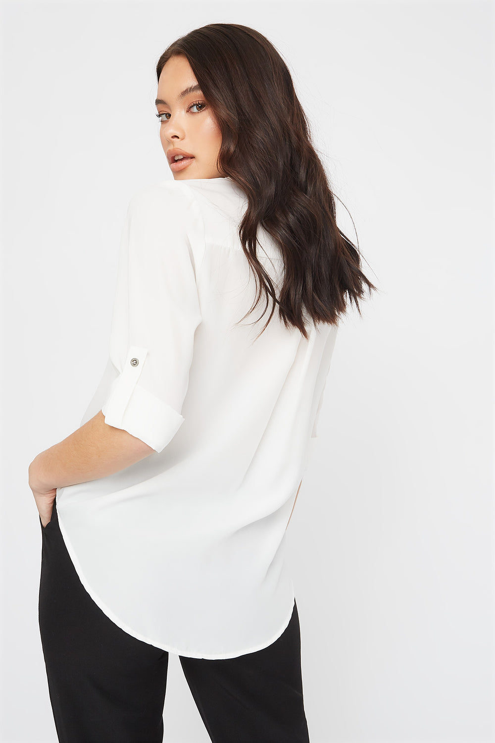 V-Neck Roll Tab Blouse White